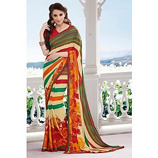 Ethnicbasket Multicolor Banarasi Silk Printed Saree With Blouse