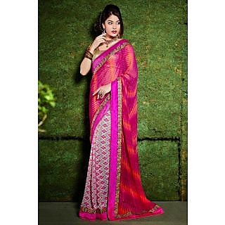 Ethnicbasket Khaki Brocade Printed Saree With Blouse