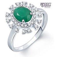 Sukkhi Glistening Rhodium Plated CZ Emerald Ring