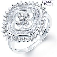 Sukkhi Stylish Hearts Rhodium Plated CZ Ring