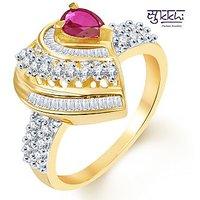 Sukkhi Bewitching Two Tone CZ Ruby Ring