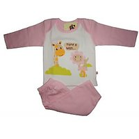 Babiano Baby Diaper Night Suit - Pink & white  color
