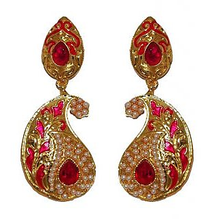Kriaa Elegant Red & Pink Meenakari Earrings  -  1103122