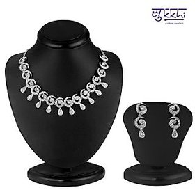 Sukkhi Non Plated Silver Necklace Set For Women