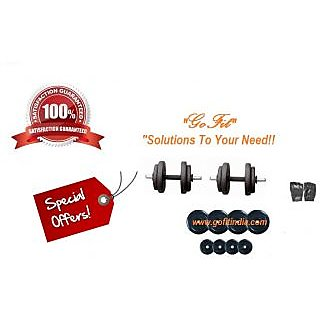 GoFit 10 Kg Adjustable Rubber Dumbells Rubber Coated Star Dumbells Rods