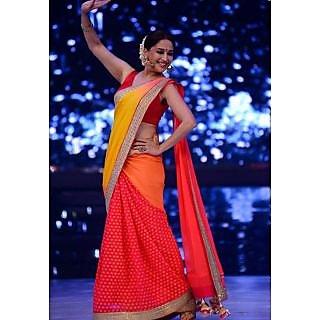 Madhuri Dixit In Yellow And Red Designer Saree