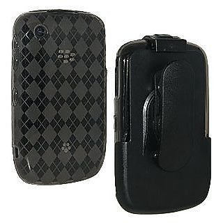 Amzer 86187 Smoke Grey Luxe Argyle Skin Case Holster with Screen Protector Combo