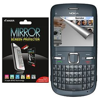 Amzer 90818 Mirror Screen Protector with Cleaning Cloth for Nokia C3