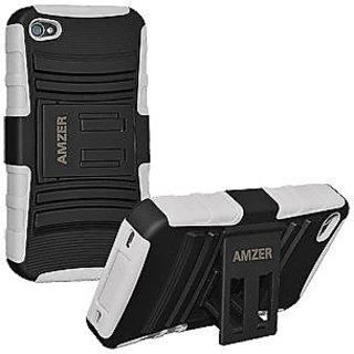 Amzer 93847 Hybrid Kickstand Case - Black/ White
