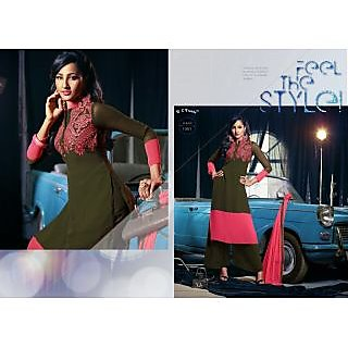 Ladies Beautiful Georgette Semi-Stitched Suit Green And Pink