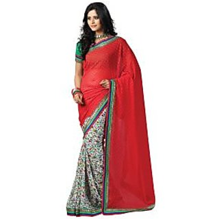 Aaliya Red Colored Chiffon Printed Saree