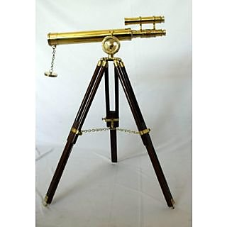 Double Barrel Brass Telescope with wooden Tripod stand