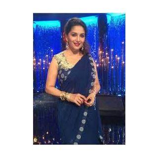 Richlady Fashion Madhuri Dixit Georgette Border Work Blue Plain Saree