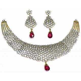 c99376b92c5ae American diamond Necklace set with ruby drops in diamond look for women