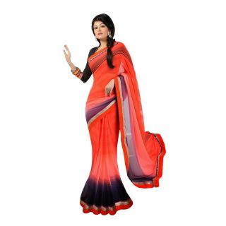 FabPandora Women's Red,Light Coral Georgette Saree With Blouse Piece