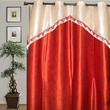 JBG  Home Store  Orange Fancy Lace Design Curtain(9 Ft)