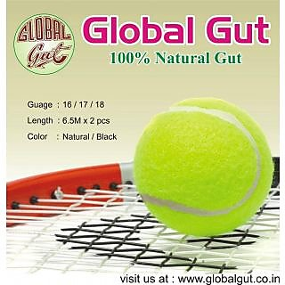 Global Gut Tennis Natural Gut Strings-16g-60Ib-Black color