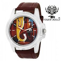 Tigerhills Round Dial Maroon Leather Strap Quartz Watch For Men