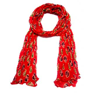 Unique Dupatta's Red Printed Design With Wrinkles