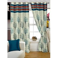 Story@Home Green Jaquard Window Curtain Nature 1 Pc Door Curtain-DBR4011
