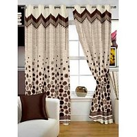 Story@Home Brown Jaquard Window Curtain Nature 1 pc Door curtain-DBR4017
