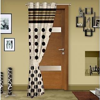 Story@Home Brown Jaquard Window Curtain Nature 1 pc Door curtain-DBR4007