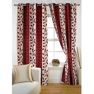 StoryHome Maroon Polyster Window Curtain Nature 2 pc Window curtain-WNR2024