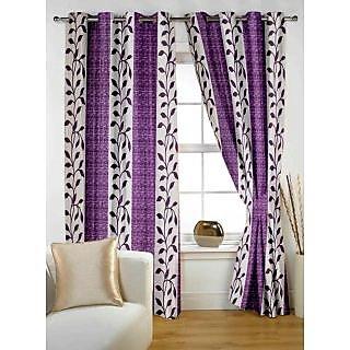 StoryHome Purple Polyster Window Curtain Nature 2 pc Window curtain-WNR2026