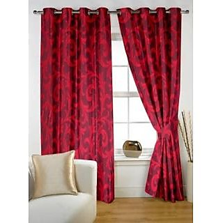 StoryHome Maroon Window Curtain Nature-WNR3001