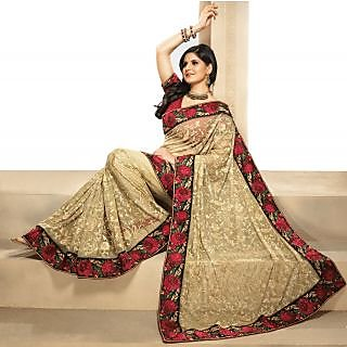 Triveni Cream Net Embroidered Saree With Blouse