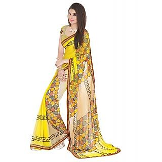 Yellow Faux Georgette Embroidered Saree With Blouse