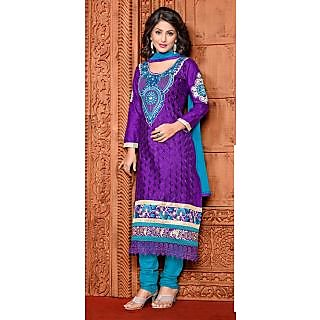Jiya Designer Purple Embroidered Cotton Straight Dress Material