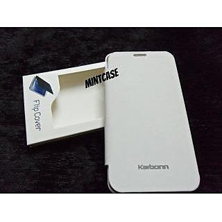 KARBON KARBONN A10 A 10 FLIP COVER CASE DIARY CASE BATTERY DETACHABLE WHITE