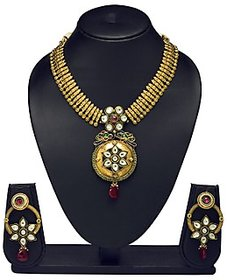 VK Jewels Superb Kundan Flower Gold Plated Necklace with Earrings- NKS1153G