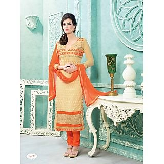 Jiya Designer Beige Georgette Straight Dress Material