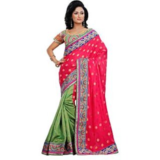 Triveni Green Jacquard Embroidered Saree With Blouse