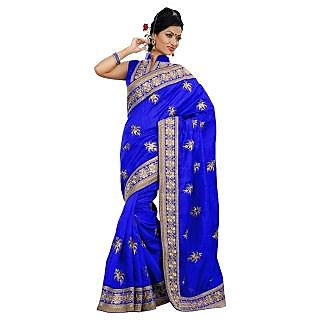 Triveni Blue Bhagalpuri Silk Embroidered Saree With Blouse