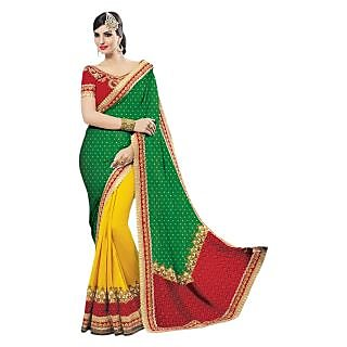 Triveni Yellow Georgette Plain Saree With Blouse