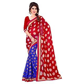 Triveni Blue Chiffon Jacquard Printed Saree With Blouse