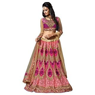 Triveni Pink Net Embroidered Saree With Blouse