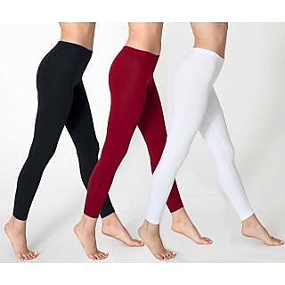 Leggings - Pack of 3 Ladies Cotton fineLeggings (Black/White/Maroon)