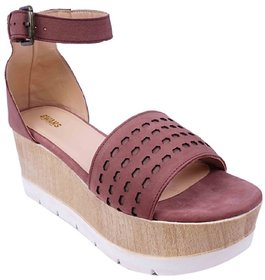 Brown Colour Women's Leather Wedges - SWANSIND