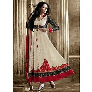 Designer Net And Embroidried Work Anarkali Suit Off White