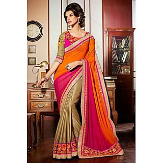 Ethnic Basket Ostentatious Beige Georgette Saree