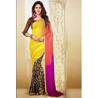 Ethnicbasket Multicolor Brocade Lace Saree With Blouse