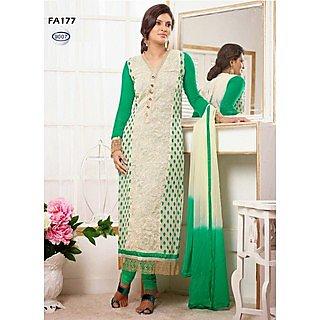 New Fashion Cream And Green Designer Salwar Suit