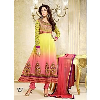 New Attractive Designer Yellow And Orenge Anarkali Suit