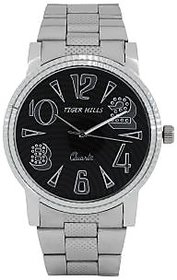 Tigerhills Round Dial Silver Metal Strap Quartz Watch For Men