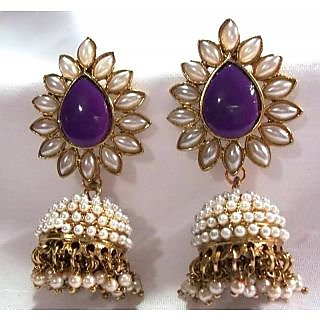Aashiqui 2 earrings purple polki pearls jhumka earrings