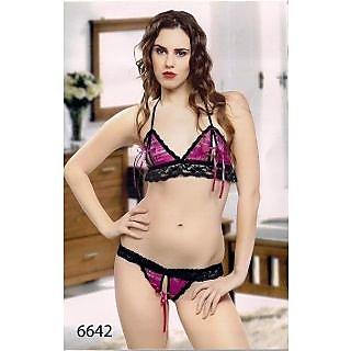 1ee101a044afe Shop Pink Micro Power Net Bikini Set Hot 2pc G-String Bra   Panty Seductive  Fun Lingerie Todays Night Wear Couples Hottest Choice Sleep Set Online - ...